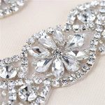 (2pieces) Petite Mariage patchs à strass avec cristaux Oreillette pour les ceintures de mariage mariée porte-jarretelles Chapeaux, Silver, 4.1x1.3In de la marque XINFANGXIU image 1 produit