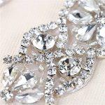 (2pieces) Petite Mariage patchs à strass avec cristaux Oreillette pour les ceintures de mariage mariée porte-jarretelles Chapeaux, Silver, 4.1x1.3In de la marque XINFANGXIU image 2 produit