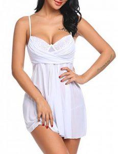 Adome Nuisette Sexy Femme Robe De Nuit Transparent Babydoll Dos Nu Avec G-String de la marque ADOME image 0 produit