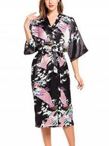 ADORNEVE Femme Robe de Nuit Kimono Satinée Nuisette Sexy Longue Paon de la marque ADORNEVE image 0 produit