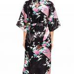 ADORNEVE Femme Robe de Nuit Kimono Satinée Nuisette Sexy Longue Paon de la marque ADORNEVE image 3 produit