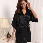Aibrou Peignoir Satin Femme Robe de Chambre Kimono Femmes Sortie de Bain Nuisette Déshabillé Couleur Pure Vêtements de Nuit pour la Fête Mariage de la marque Aibrou image 2 produit