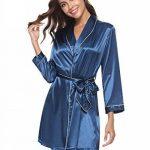 Aibrou Peignoir Satin Femme Robe de Chambre Kimono Femmes Sortie de Bain Nuisette Déshabillé Couleur Pure Vêtements de Nuit pour la Fête Mariage de la marque Aibrou image 4 produit