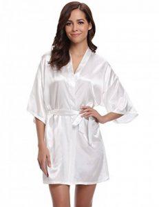 Aibrou Peignoir Satin Femme Robe de Chambre Kimono Femmes Sortie de Bain Nuisette Déshabillé Couleur Pure Vêtements de Nuit pour la Fête Mariage de la marque Aibrou image 0 produit