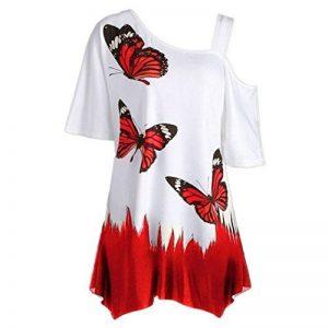 Bluestercool Shirt Femmes Papillon Imprimé Manche Courte Casual Tops Blouse Grande Taille de la marque Bluestercool image 0 produit