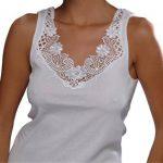 Débardeur - coton peigné - large empiècement dentelle - sans couture latérale - femme de la marque VCA Textil image 2 produit