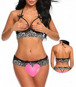 Dromild Womens Lace Lingerie soutien-gorge Open coupe et culotte ensembles de culotte de la marque Dromild image 0 produit
