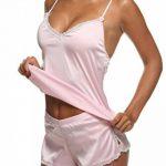 Ekouaer Ensemble Pyjama Femme Sexy Short Satin Lingerie Débardeur Dentelle Taille 34-54 XS-XXL de la marque Ekouaer image 3 produit