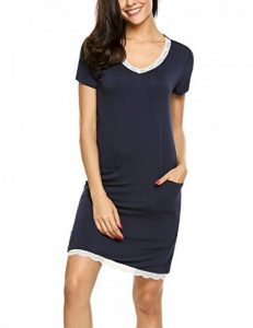 Ekouaer Femme Chemise de Nuit Coton Manche Courte Col V Deux Poches Robe de Nuit Pyjama S-XXL de la marque Ekouaer image 0 produit