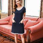 Ekouaer Femme Chemise de Nuit Coton Manche Courte Col V Deux Poches Robe de Nuit Pyjama S-XXL de la marque Ekouaer image 2 produit