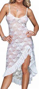 EmilyLe Femme Grandes Tailles Nuisette Longue Érotique en Dentelle Sexy Déshabillé Robe de Nuit avec String de la marque EmilyLe image 0 produit