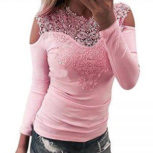 Esailq Femme T-Shirt Casual Sexy Transparent Manches Longues Dentelle O Neck Blouse Tops Slim Fit Clubwear Soirée de la marque ESAILQ Femmes Tops à manches longues image 0 produit