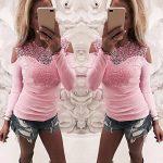 Esailq Femme T-Shirt Casual Sexy Transparent Manches Longues Dentelle O Neck Blouse Tops Slim Fit Clubwear Soirée de la marque ESAILQ Femmes Tops à manches longues image 1 produit