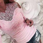 Esailq Femme T-Shirt Casual Sexy Transparent Manches Longues Dentelle O Neck Blouse Tops Slim Fit Clubwear Soirée de la marque ESAILQ Femmes Tops à manches longues image 2 produit
