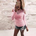 Esailq Femme T-Shirt Casual Sexy Transparent Manches Longues Dentelle O Neck Blouse Tops Slim Fit Clubwear Soirée de la marque ESAILQ Femmes Tops à manches longues image 3 produit