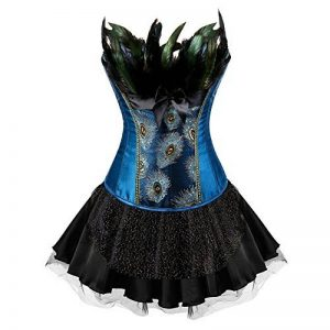 ea9e9dc782925 FeelinGirl Bustier Robe Gothique Steampunk Dentelle 2 Pieces avec Lacets et  Plumes de la marque FeelinGirl