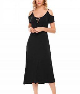 Femme Chemise de Nuit Coton Longue Épaule Dénudé Été Casual Robe de Nuit S-XXL de la marque Ekouaer image 0 produit