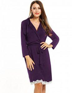Femme Kimono Coton Peignoir de Bain Robe de Chambre Pyjama Longue Manche 3/4 Ceinture Poche 36-50 de la marque Avidlove image 0 produit
