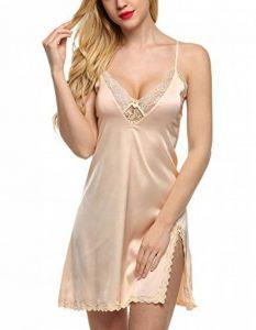 Femme Robe de Nuit Sexy Satin Dentelle Bretelles Réglables Col V Chemie de Nuit 32-56 XS-XXL de la marque Ekouaer image 0 produit