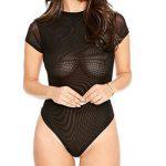 Femmes Manche Courte Jumpsuit Clubwear Bodysuit Combinaison Nuit Moulant Transparent Justaucorps Bodycon Body de la marque LaoZan image 1 produit
