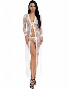 Freebily Lingerie Pyjama Femme Sexy 2 Pièce Nuisette Robe de Chambre Avec G-String Floral Transparent Dentelle Babydoll Chemise Vêtement de Nuit S-XXL de la marque Freebily image 0 produit