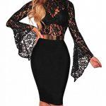 FreestyleMo Femmes Dentelle Bodys Tops Manches Longues Combinaison Bodysuit de la marque FreestyleMo image 2 produit