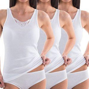 HERMKO 1440 Lot de 3 Caracos avec dentelle pour Femme en 100% coton européen, Débradures de la marque HERMKO image 0 produit