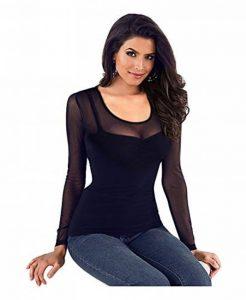 Imixcity Femme Sexy Col-V Sheer Mesh Clubwear Chemise See-Through Slim Fit Tops Grande Taille de la marque Imixcity image 0 produit