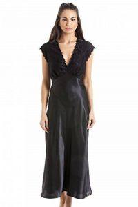 Longue chemise de nuit en satin - avec dentelle - noir de la marque Camille image 0 produit