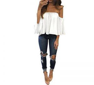 LONUPAZZ t-shirt à manches longues femmes chemisier en mousseline Off Shoulder Tops de la marque LONUPAZZ image 0 produit