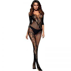 Moonuy Body en Maille à Encolure en V Femmes Open Crotch Bodystockings Perspective Sous-vêtements Pyjama Chaussettes résille Lingerie Babydoll Sleepwear Robe de la marque Moonuy _ image 0 produit