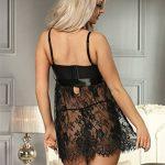 OHYEAHLADY Lingerie Robe avec Noeud de Fleur Nuisettes Fine à Pyjamas Noir Bretelle Décoré aux Seins de la marque ohyeahlady image 2 produit