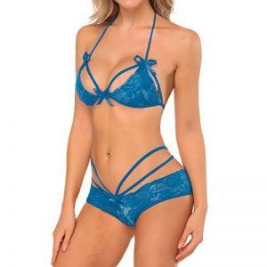 SESY Femmes Sexy Intersect Strap Lace Slips Sous-vêtements Vêtements de nuit Lingerie sans fil Rouge de la marque SESY image 0 produit