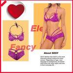 SESY Femmes Sexy Intersect Strap Lace Slips Sous-vêtements Vêtements de nuit Lingerie sans fil Rouge de la marque SESY image 3 produit