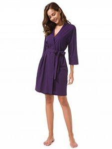 SIORO Femme Coton Peignoir court nuisette confortable Col en V robe de chambre Pyjama de la marque SIORO image 0 produit