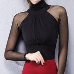 Smile YKK Chemise Femme Tulle T-Shirt Manches Longues Col Montant Pull Top Blouse Soirée Elégant de la marque Smile YKK image 2 produit