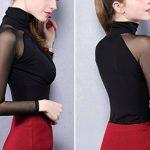 Smile YKK Chemise Femme Tulle T-Shirt Manches Longues Col Montant Pull Top Blouse Soirée Elégant de la marque Smile YKK image 3 produit