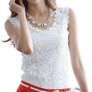 SODIAL(R) T-shirt en dentelle blanc sans manches du style decontracte de l'ete pour les femmes-M de la marque SODIAL(R) image 0 produit