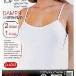 VCA - Lot de 2 caracos nervurés - 100% coton peigné - bretelles spaghetti - certifié Oeko-Tex Standard 100 - label -Confiance Textile- - femme de la marque VCA Textil image 3 produit