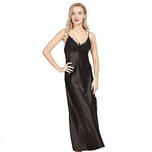 Vertvie Femme Pyjama Long en Satin Nuisette Babydoll Lingerie Robe de Chambre de la marque Vertvie image 0 produit