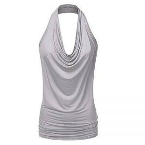 Vertvie Femme Été T-Shirt Sans Manches Halter Débardeur Caracos Plis Dos Nu Top Bouse Casual de la marque Vertvie image 0 produit