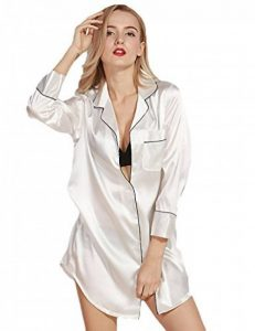 WanYang Femme Ensemble de Pyjama Manche Longue Dentelle En Satin Nuit Chemise De Imitant de la marque WanYang image 0 produit